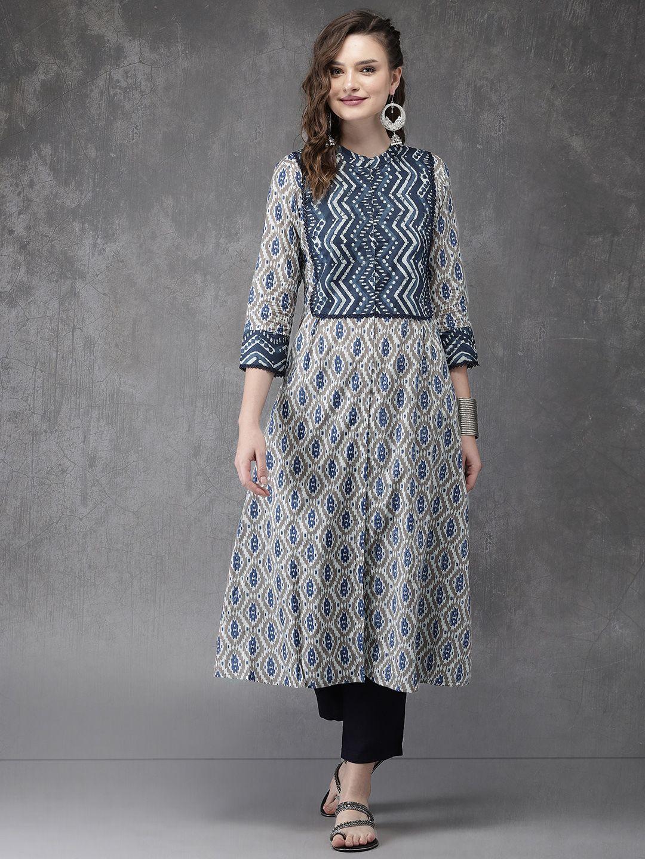 1a3024f7a26 Anouk Women Brown   Navy Blue Printed A Line Kurta - Kurtas for Women  6613239