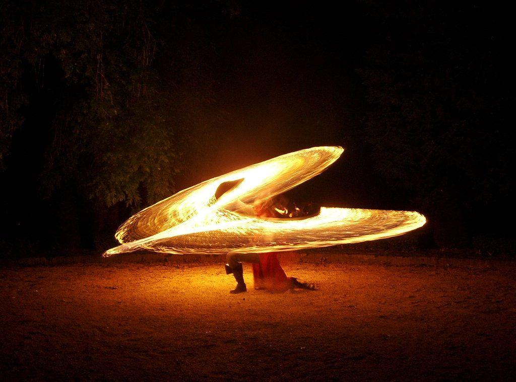 Fire flowing.