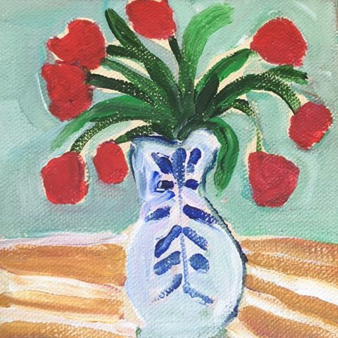 Red Flowers Kitchen Art Blue And White Vase Artwork Paintings Eeb