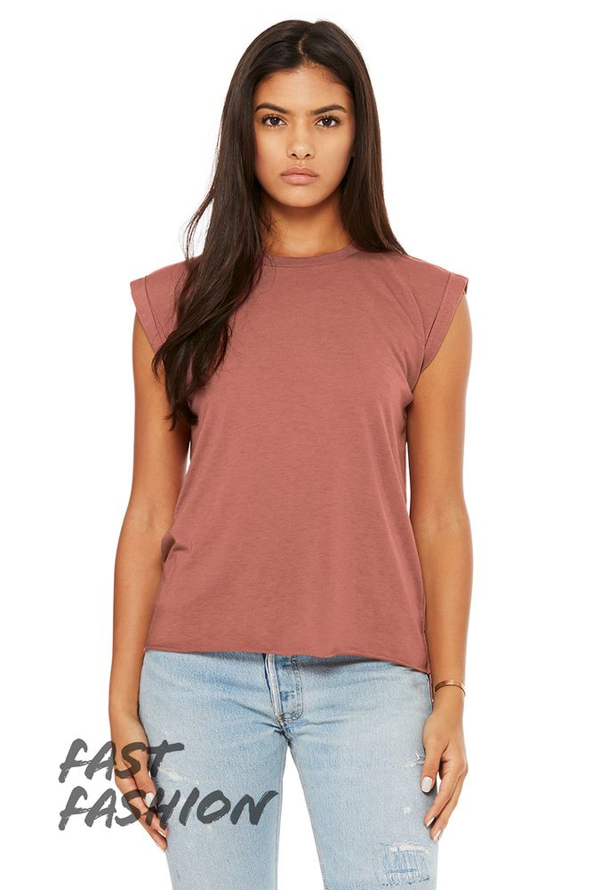 4943f2881ca10 Bella+Canvas 8804 - Women s Flowy Muscle Tee with Rolled Cuff ...