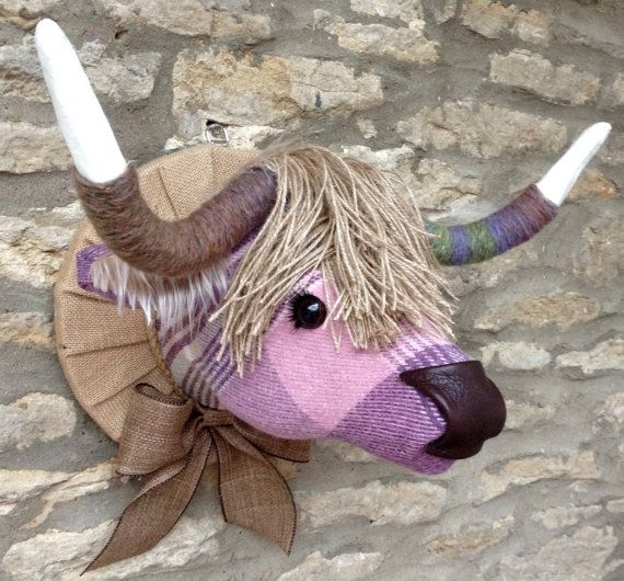Handmade Plaid Highland Cow Faux Taxidermy Heather Lavender Olive Check Fabric Wall Mounted Animal Head Trophy Faux Taxidermy Animal Heads Check Fabric