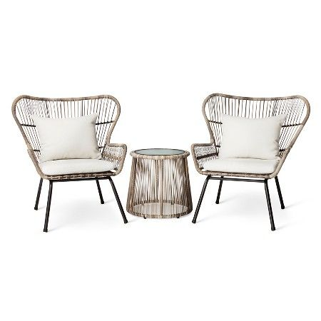 Remarkable Latigo 3Pc All Weather Wicker Outdoor Patio Chat Set Tan Caraccident5 Cool Chair Designs And Ideas Caraccident5Info