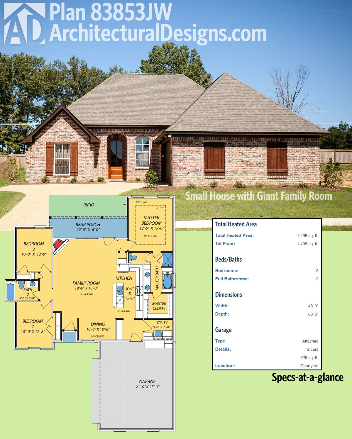 Plan 83853JW: Small House with Giant Family Room | Acadian house ...
