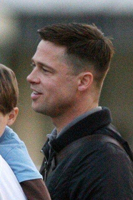 Brad Pitt short hair shooting in Austin