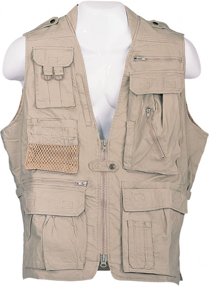 Humvee Safari Khaki Photography Cargo Fishing Twenty Pockets Vest  Large to 3X #Humvee #Safari