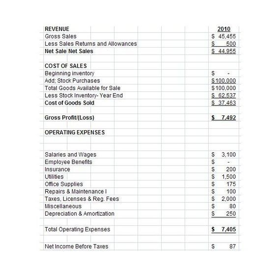 Template for Profit and Loss Statement for Self Employed profit and