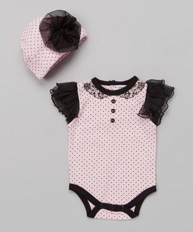 Another great find on #zulily! Pink & Black Polka Dot Bodysuit & Beanie #zulilyfinds