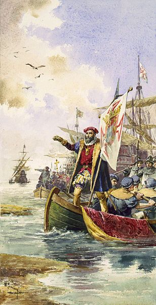 Vasco da Gama standing in prow of rowboat.