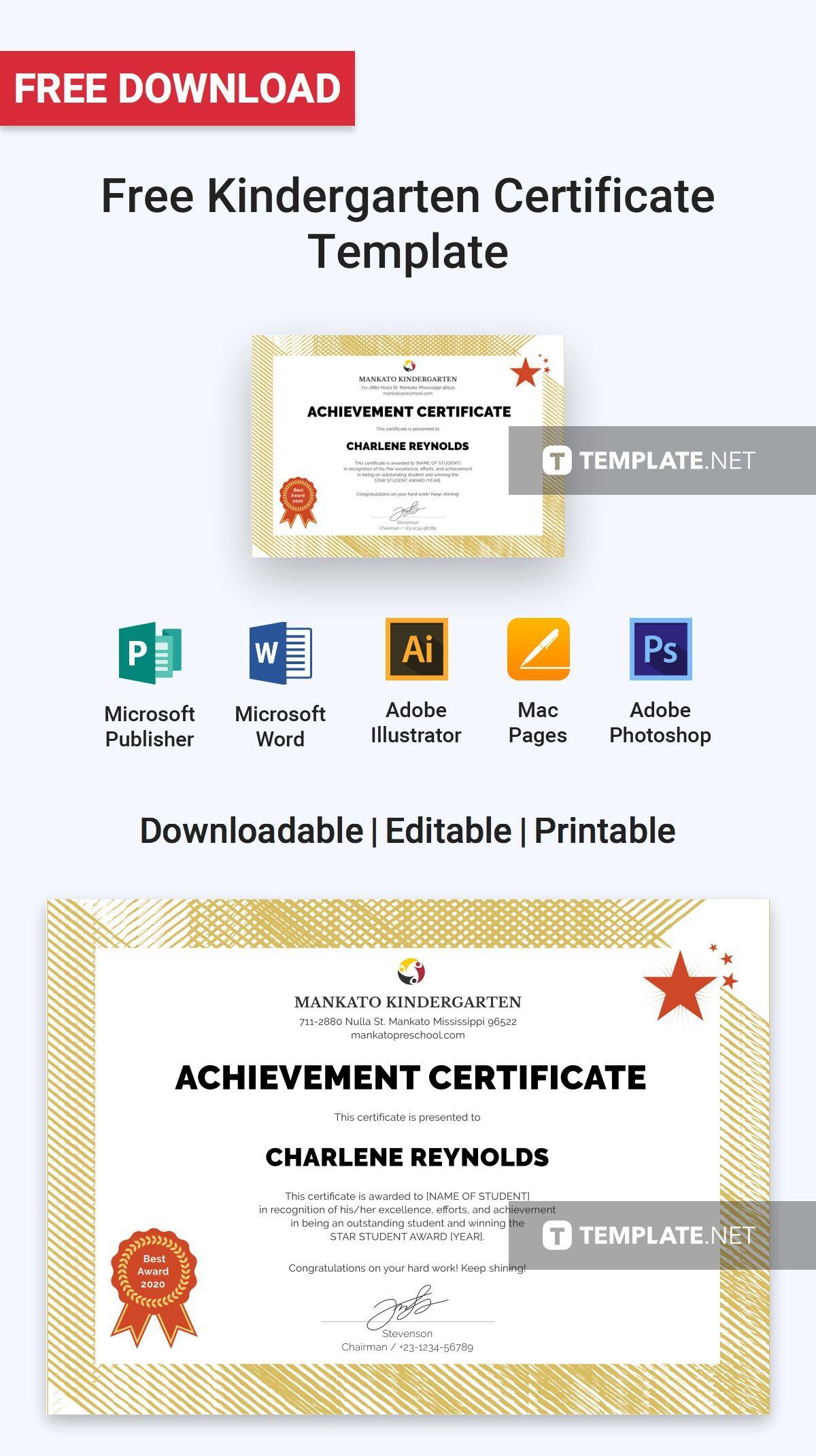 free kindergarten certificate template free certificate templates free certificates kindergarten students kindergartens