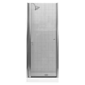 Kohler Fluence 28 3 4 In X 65 1 2 In Frameless Pivot Shower Door In Bright Silver With Clear Glass Shower Doors Shower Door Seal Tub Shower Doors