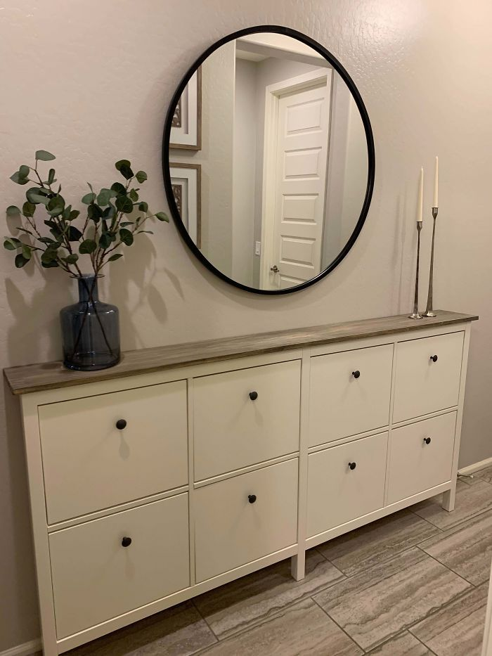 Photo of For Our Narrow Entryway, We Combined Two IKEA Hemnes Shoe Cabinets And Replaced The Original Tops With A Stained Wood Top. I Am So Happy With How This Hack Turned Out!