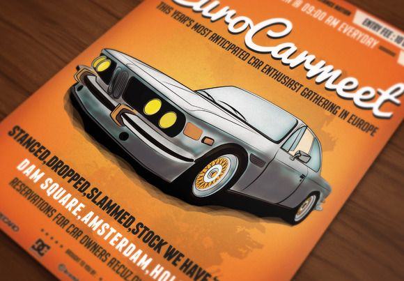 Retro Car Meeting Poster / Flyer III by DigitavernShop on Creative Market
