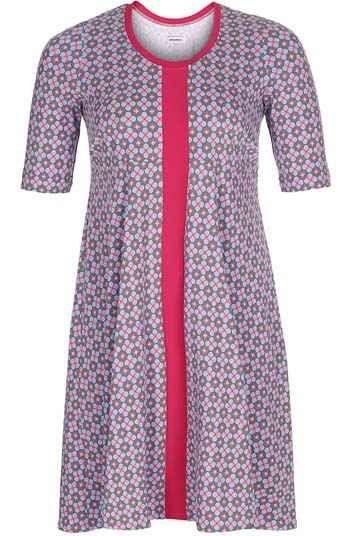 e0ecb550899 Jersey kjole med empiresnit, i pink blomstret mønster | Plus size ...