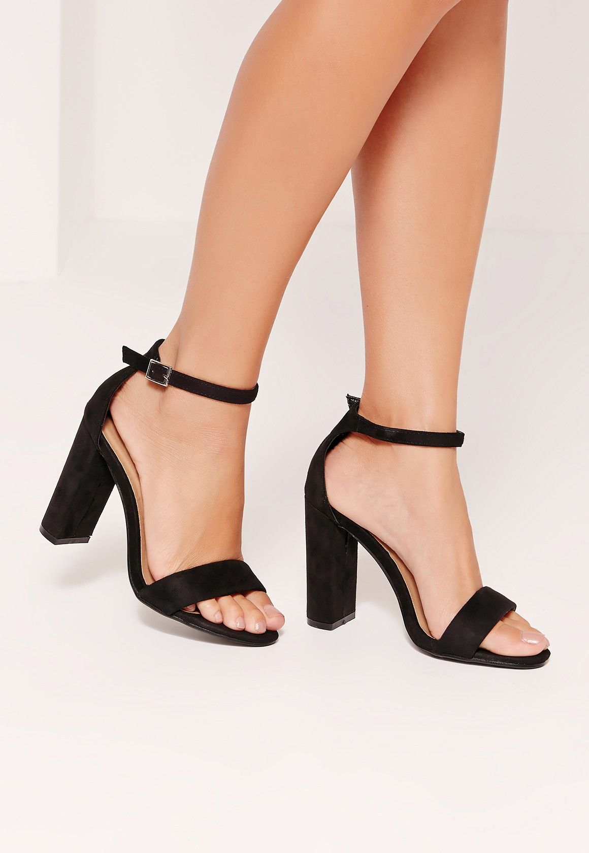 f2756cd3a78 Missguided - Thick Strap Block Heel Barely There Sandals Black New Shoes