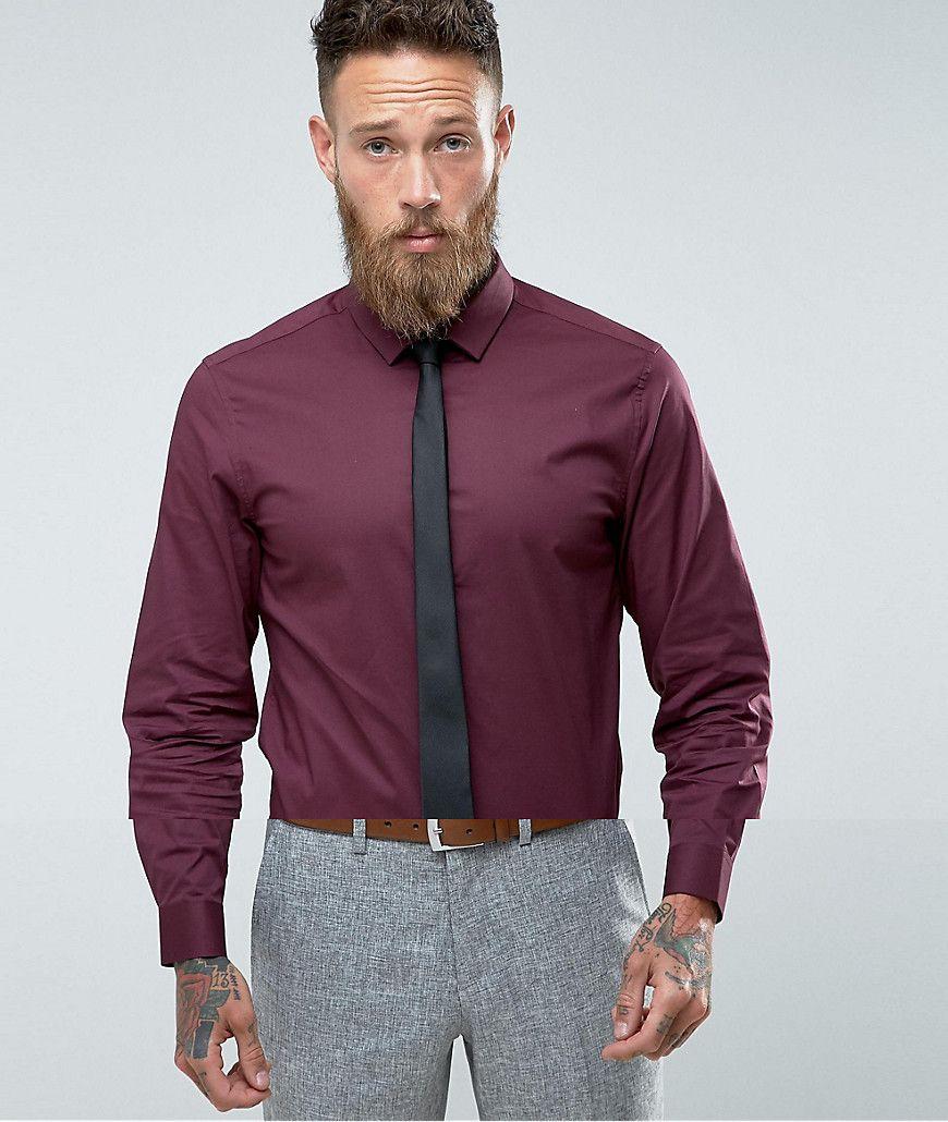 Asos slim shirt in burgundy with black tie save red