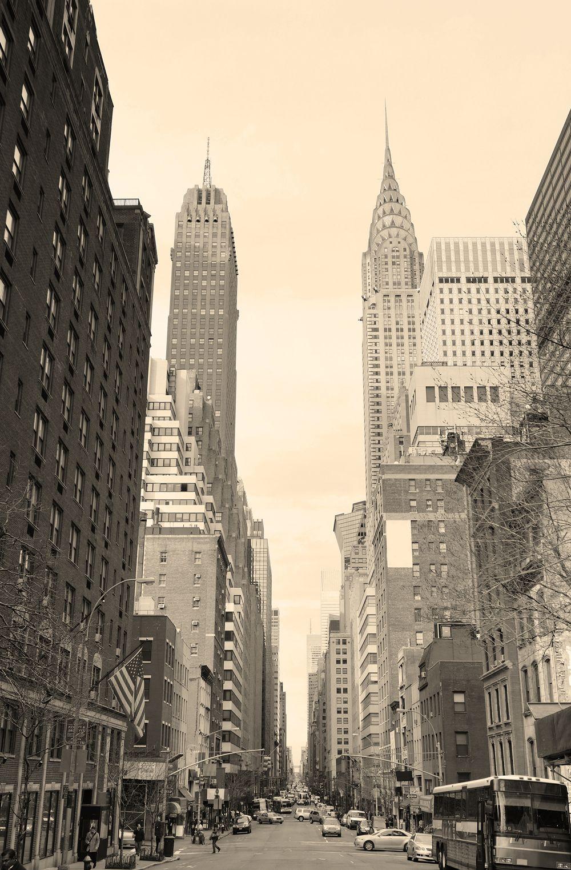 Street View With Chrysler Building New York Wallpaper New York