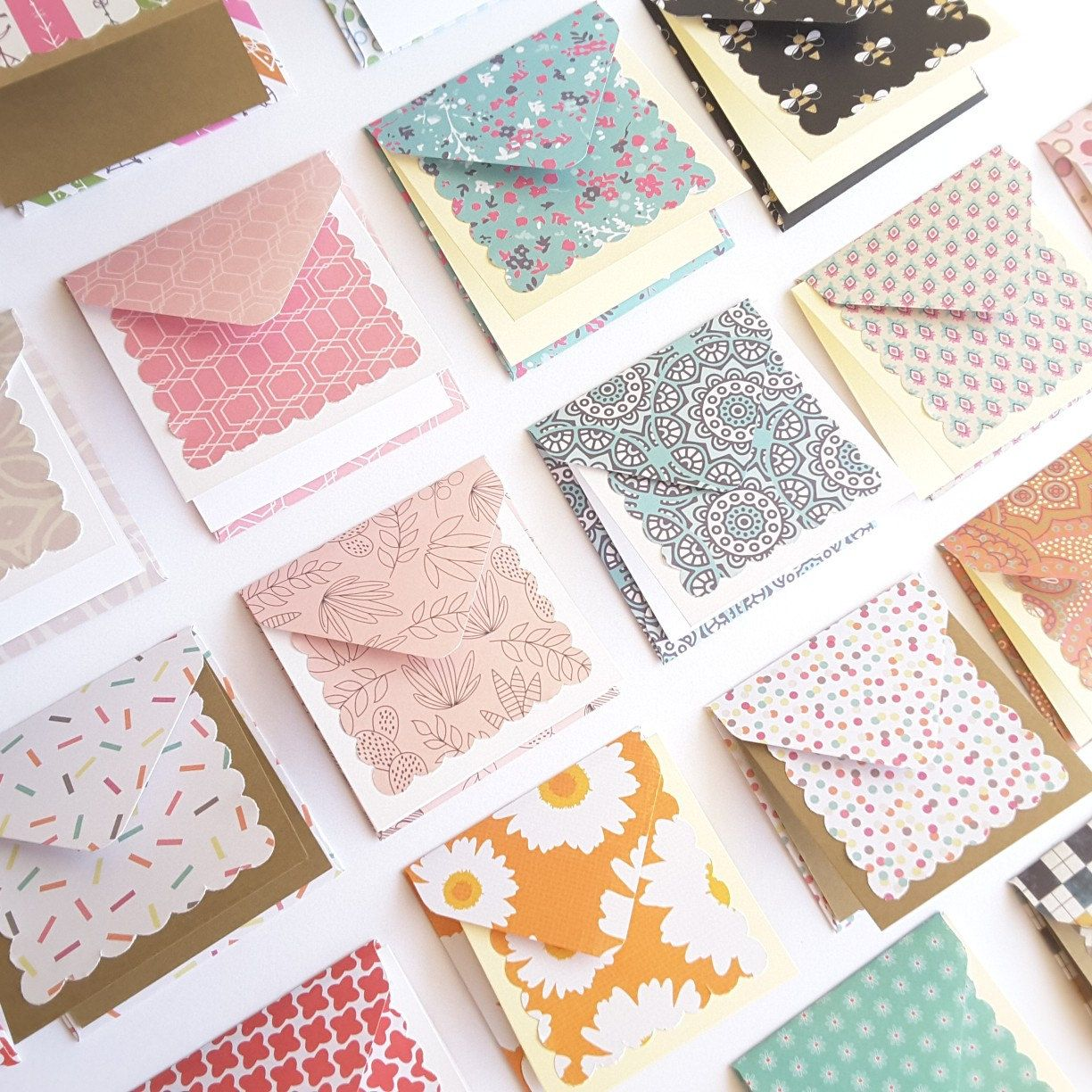 3 x 3 mini note cards with envelope blank note cards