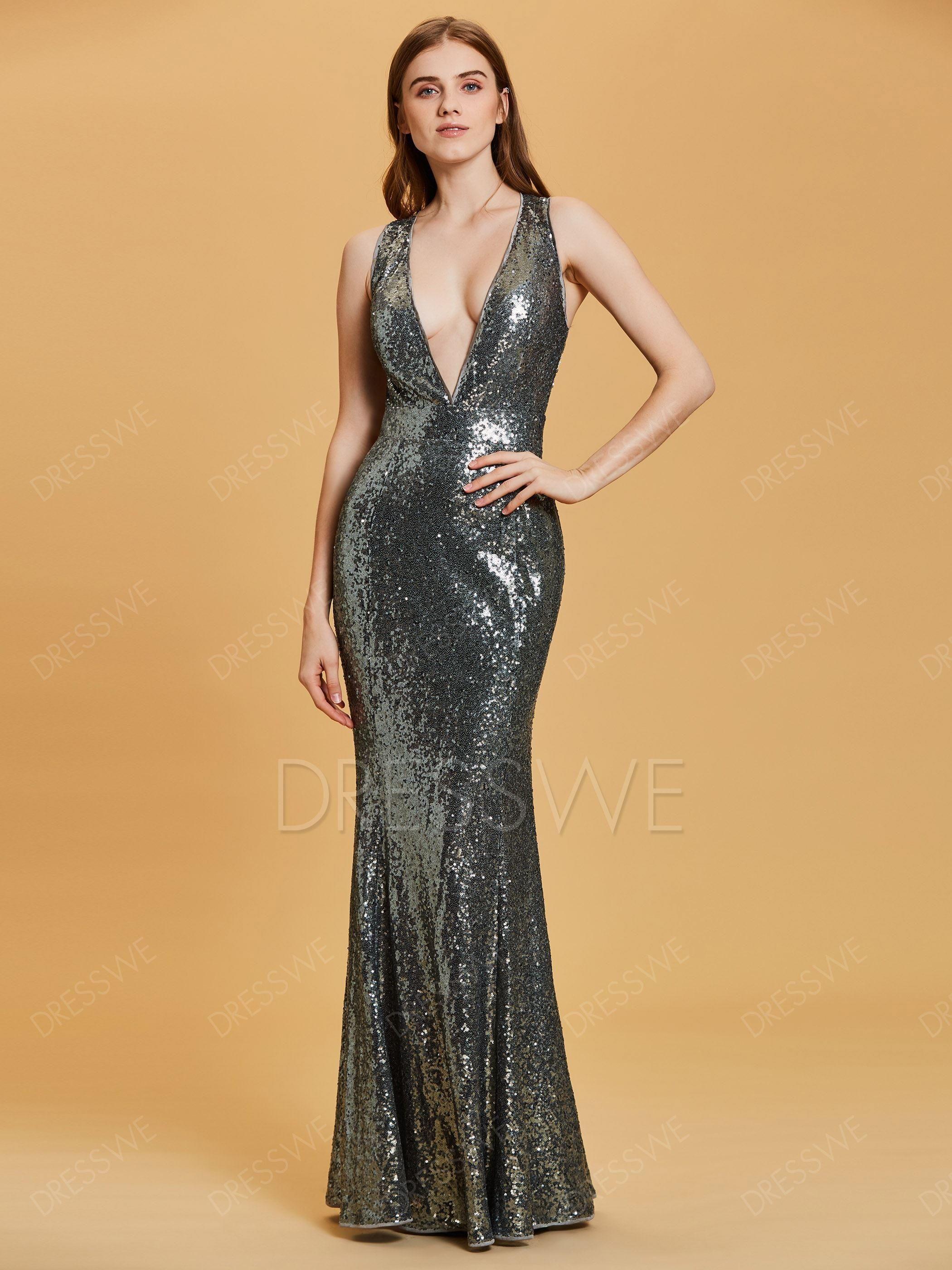 6887c1e685750 #falloutfits #AdoreWe #DressWe - #DressWe V Neck Criss-Cross Straps Sequins  Sheath Evening Dress - AdoreWe.com
