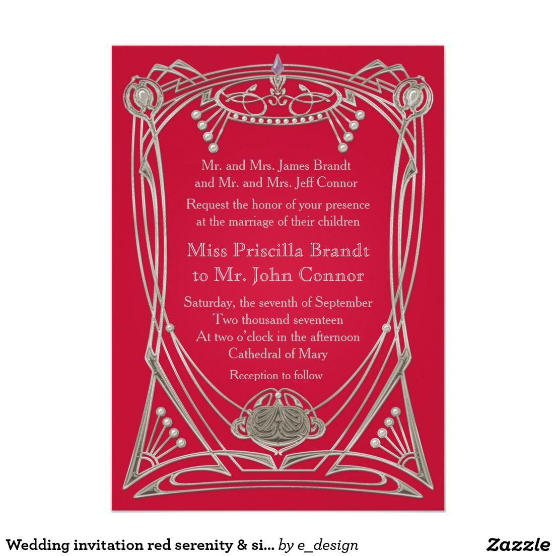Wedding invitation red serenity & silver | Silver Wedding ...