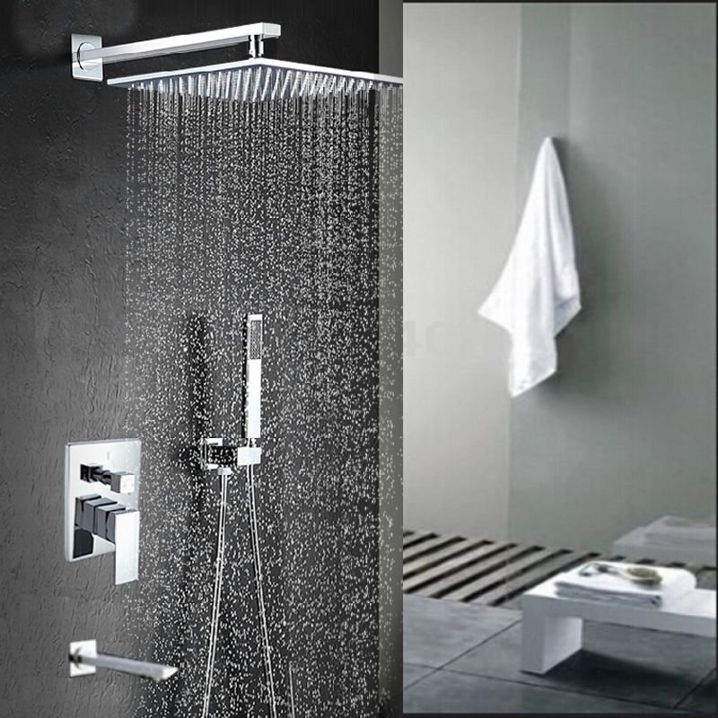 Malachite Wall Mount 12 Inch Rainfall Shower Head With Hand Held Shower,  Tub Spout U0026 Mixer Valve