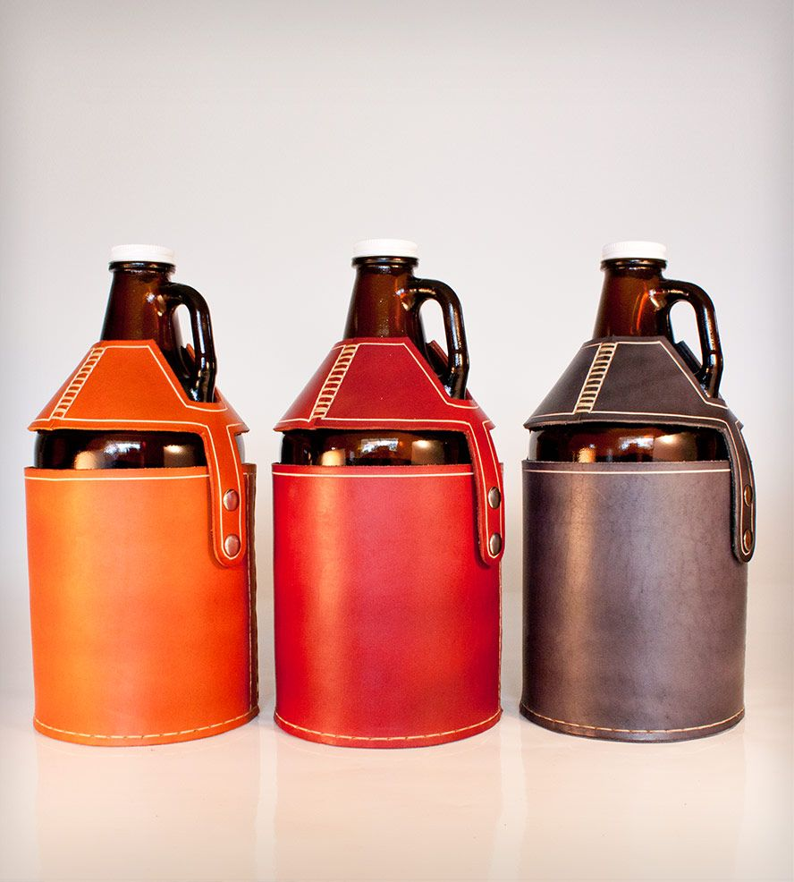 Leather Beer Growler Carrier Food Drink Beverages Cocktails Pedal Happy Scoutmob Shoppe Beer Growler Carrier Leather Wine Carrier Beer Growler
