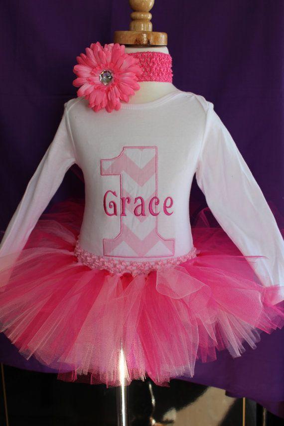 Baby Girl 1st Birthday Chevron Personalized by LittleGraceBowtique, $45.00