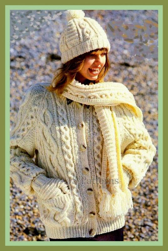 Pdf Knitting Pattern For Ladies Classic Aran Cardigan And A Hat