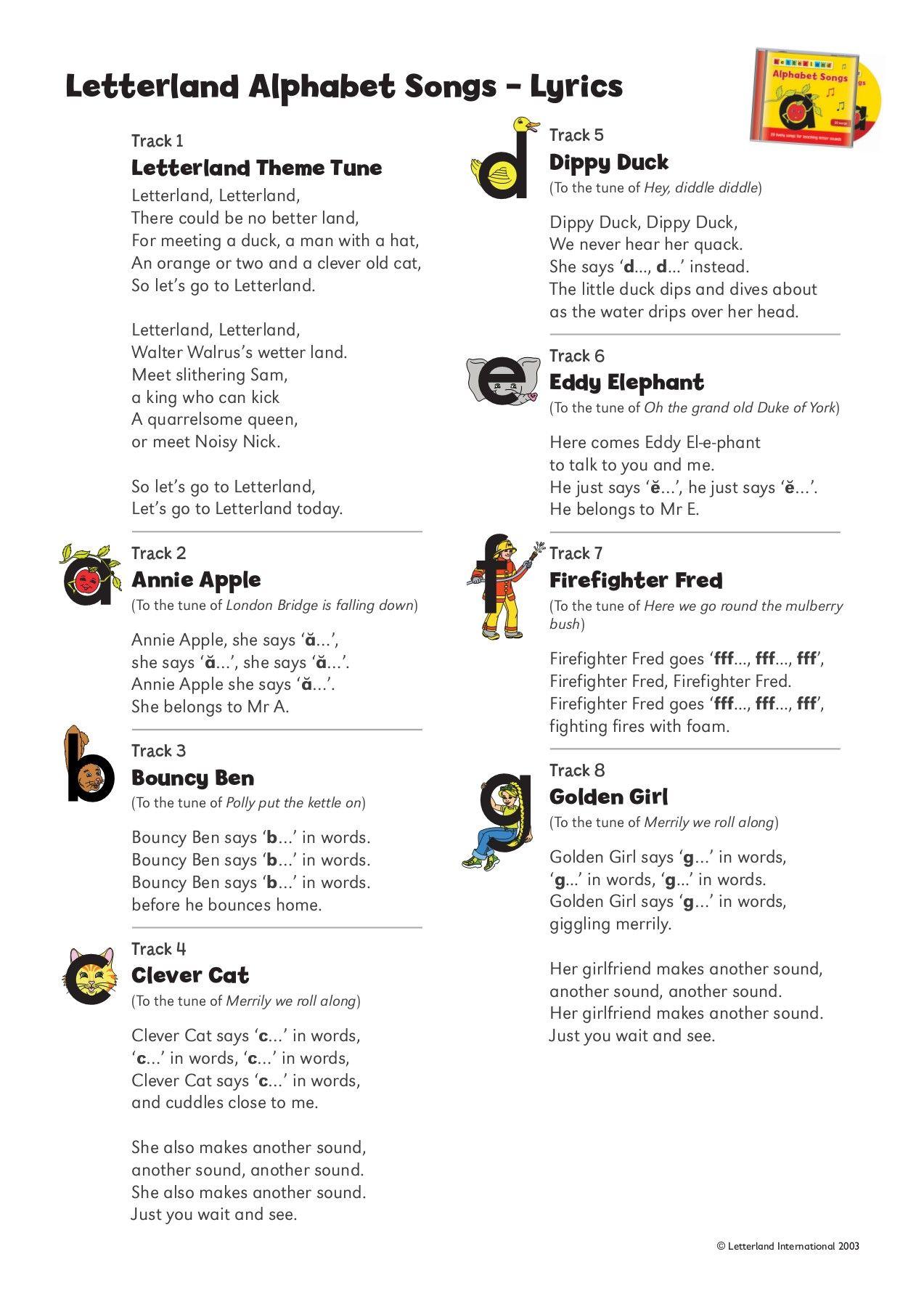 Letterland Alphabet Songs Lyrics
