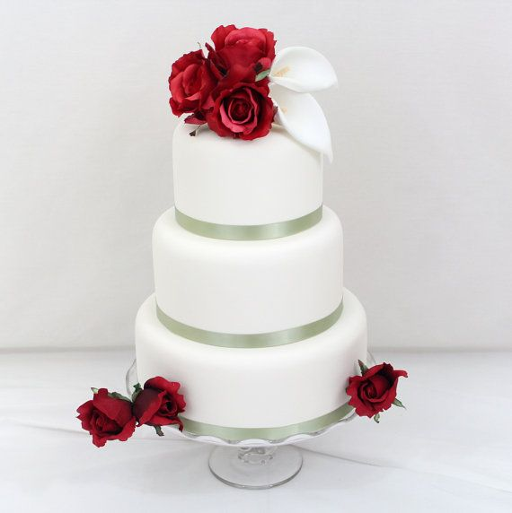 Wedding cake topper red rose calla lily wedding cake topper silk wedding cake topper red rose calla lily silk flower wedding cake topper by ittopsthecake junglespirit