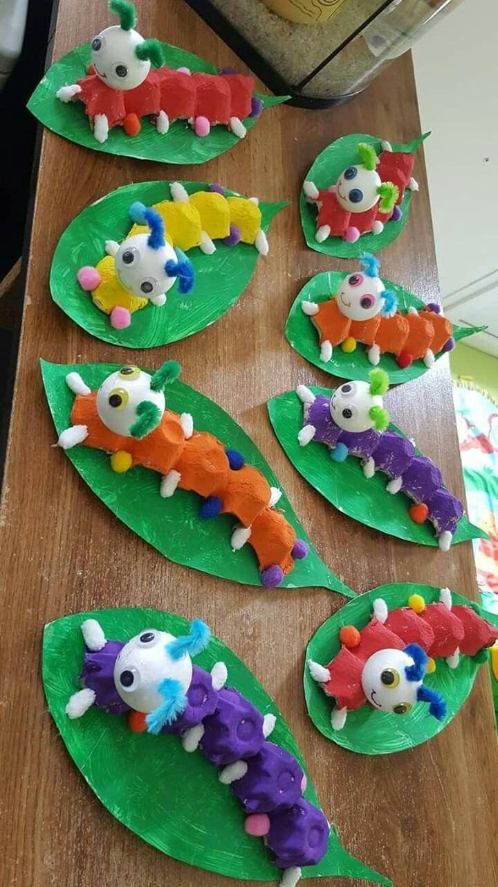 Caterpillars from egg carton - #from # egg carton # Thanksgiving KindergartenCrafts #birthst ...#birthst #carton #caterpillars #egg #kindergartencrafts #thanksgiving