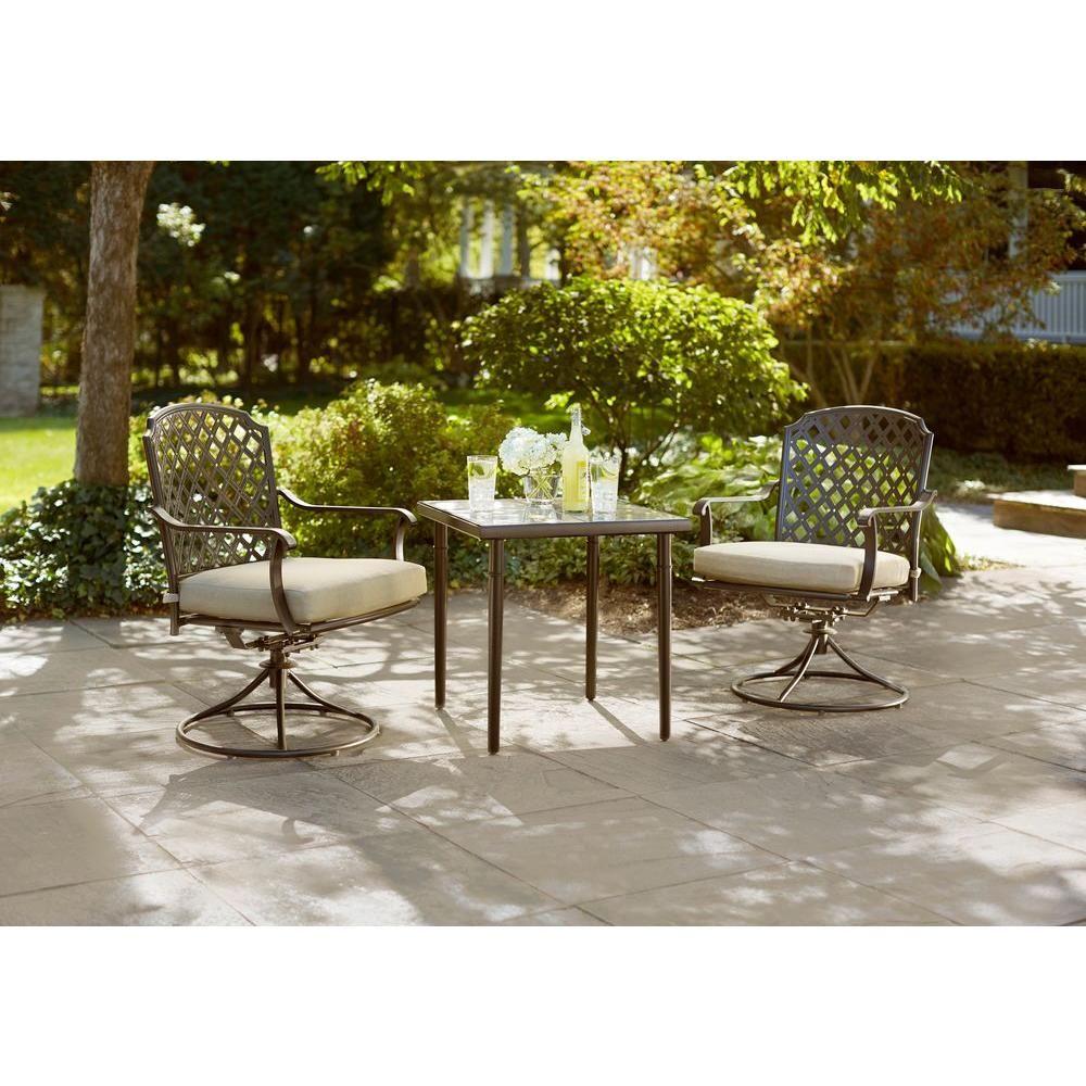 Hampton bay marysville piece patio bistro set with beige cushions