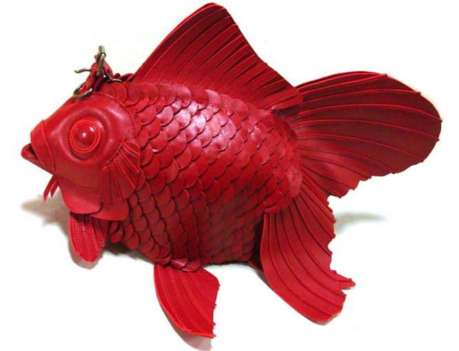 Goldfish smooth leather bag (large)