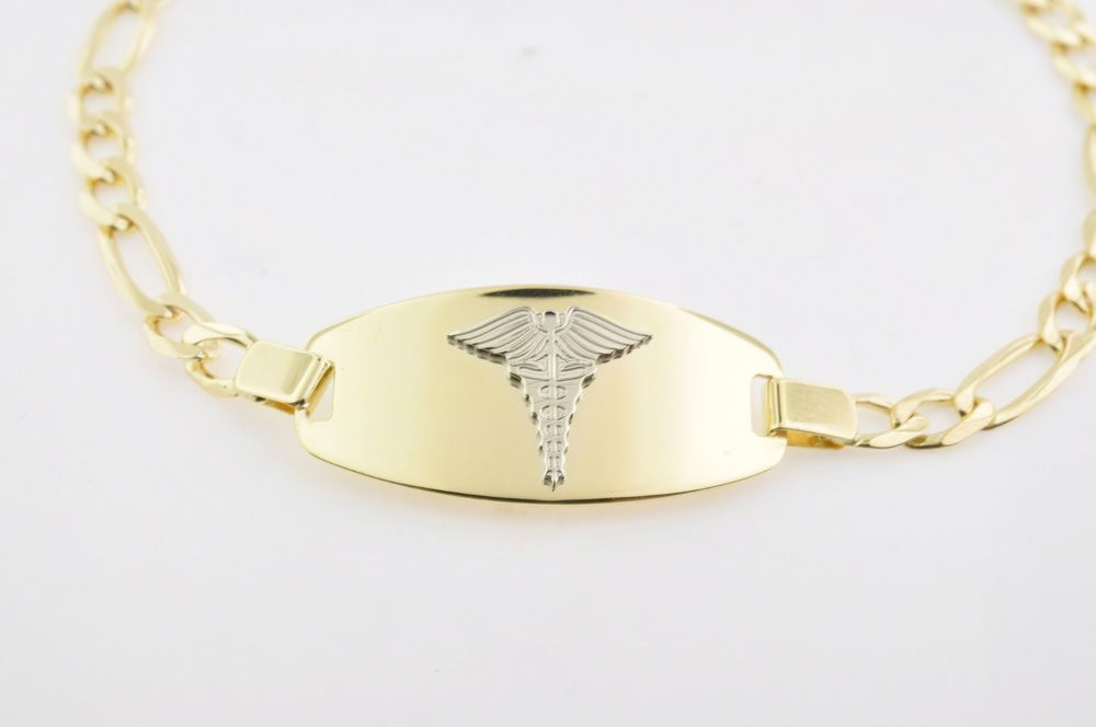 10k Gold Medical Medic Id Alert Bracelet Italian Made High Quality Ree Engraving Alert Bracelet 10k Gold Gold