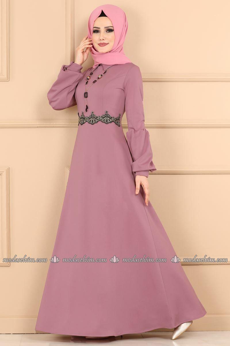 Moda Selvim Gupur Detay Kolyeli Elbise 3025pm271 Lila Elbise Modelleri Elbise Elbiseler