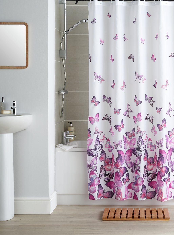 Argos Home Butterflies Shower Curtain Pink In 2020 Butterfly