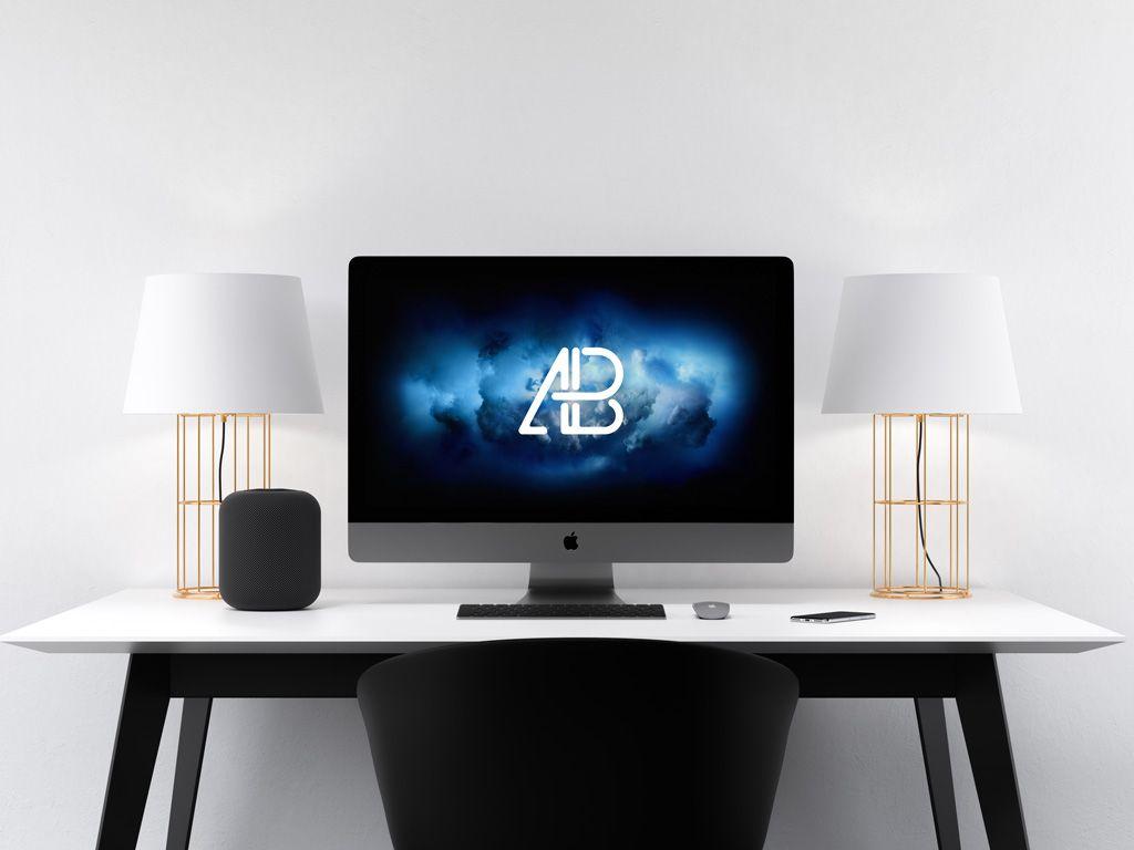 iMac Pro on Home Desk Mockup   Mock up