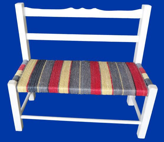 White Jungle blues child's bench.
