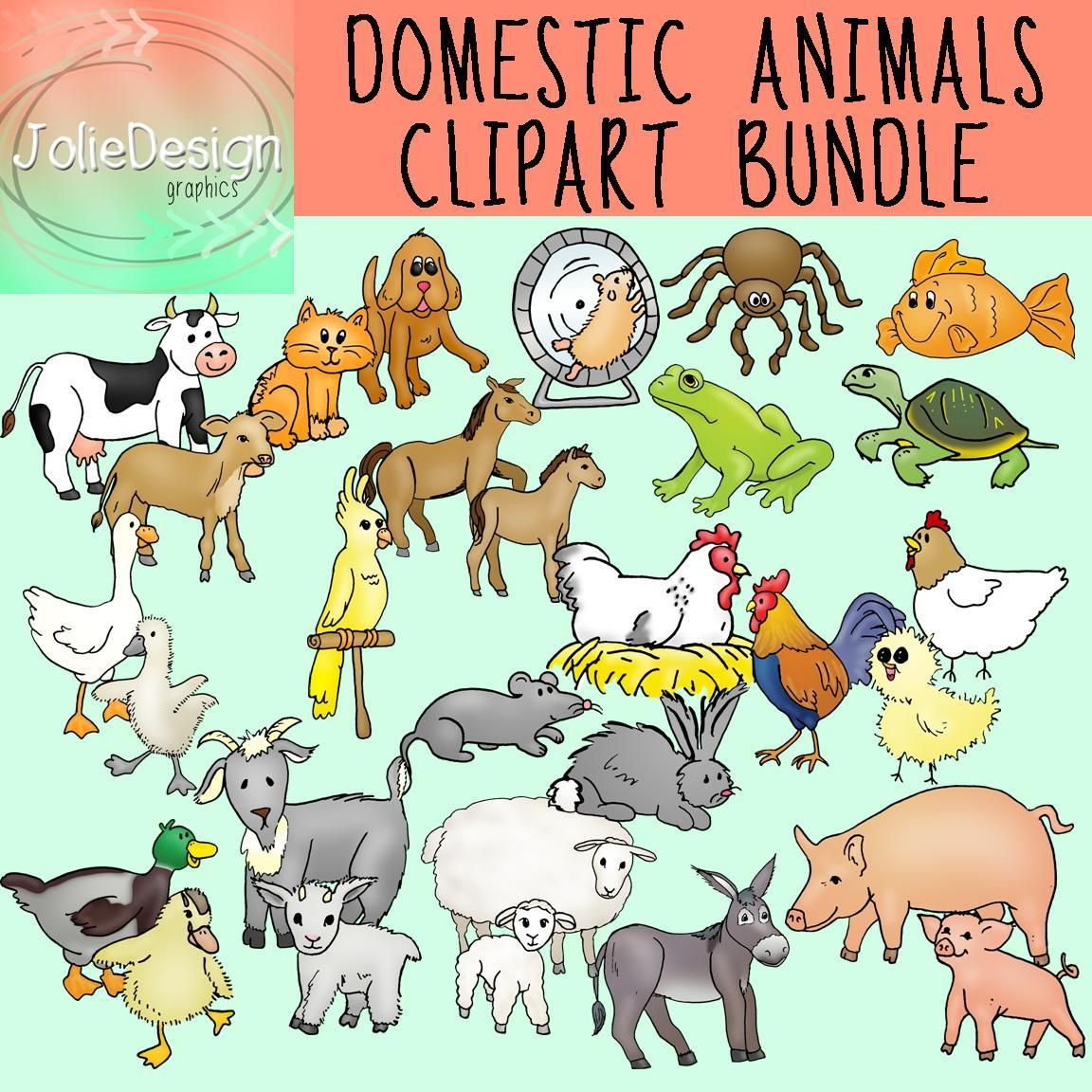 Animals Clipart 58 Piece Set Color And Black And White With