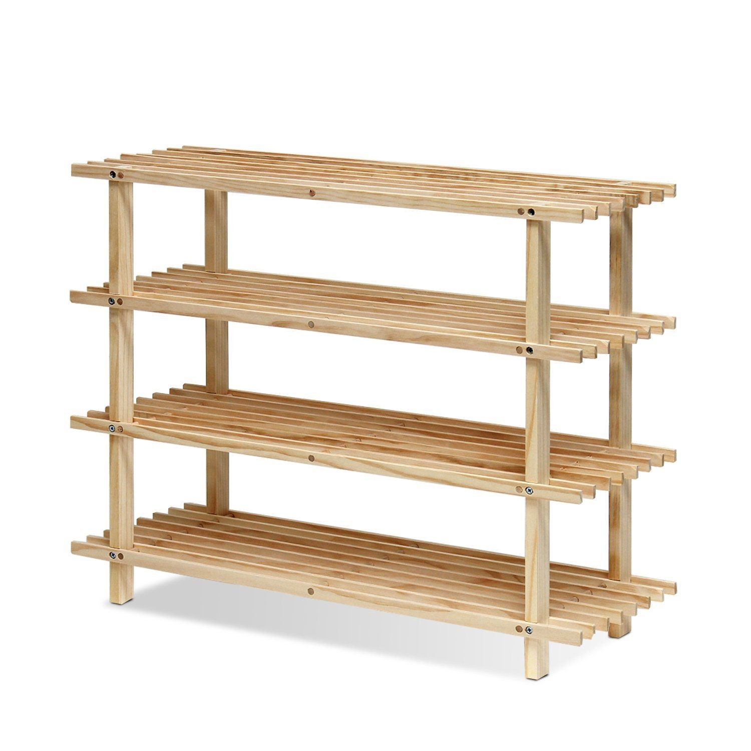 Amazon furinno fncj pine solid wood tier shoe rack