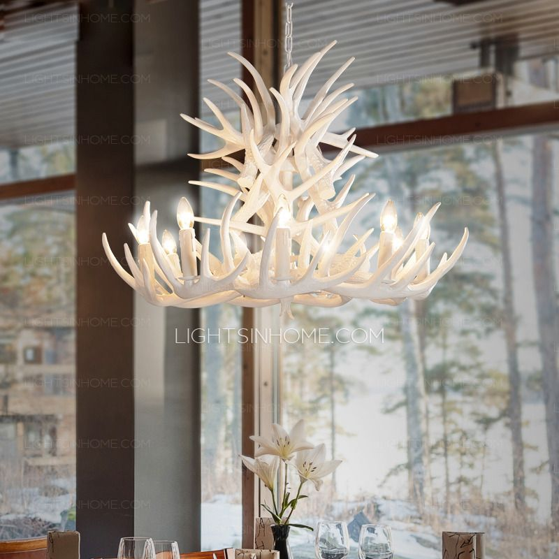 Twig 9 Light Modern Antler Chandelier White Painting Candle