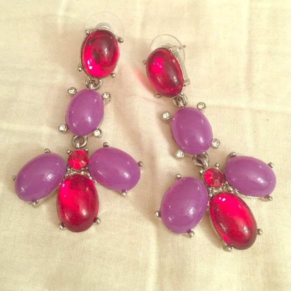 Purple and red earrings Great condition. Pretty stones, post back. Silver accent. Jewelry Earrings