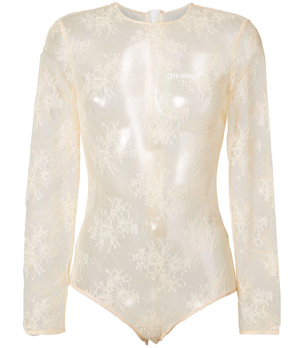 53e5ea2c OFF-WHITE Nude Neutrals Lace Bodysuit. #off-white #cloth # | Off ...