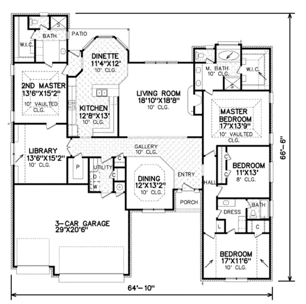 Traditional Style House Plan 4 Beds 4.5 Baths 2973 Sq/Ft