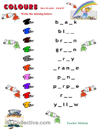 Printable Alphabet Assessment  Colours Picture Test  Worksheet