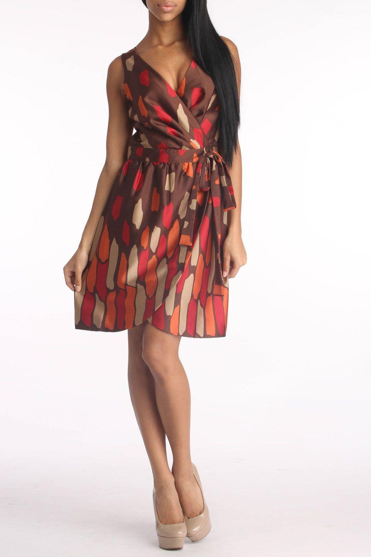 Ceces New York Tanya Dress In Brown & Multicolor