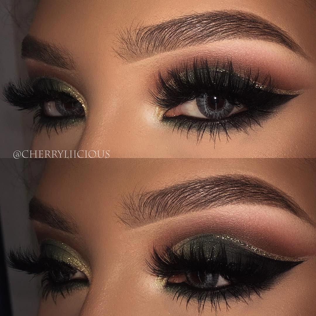 Dramatic smokey eye with glitter accent