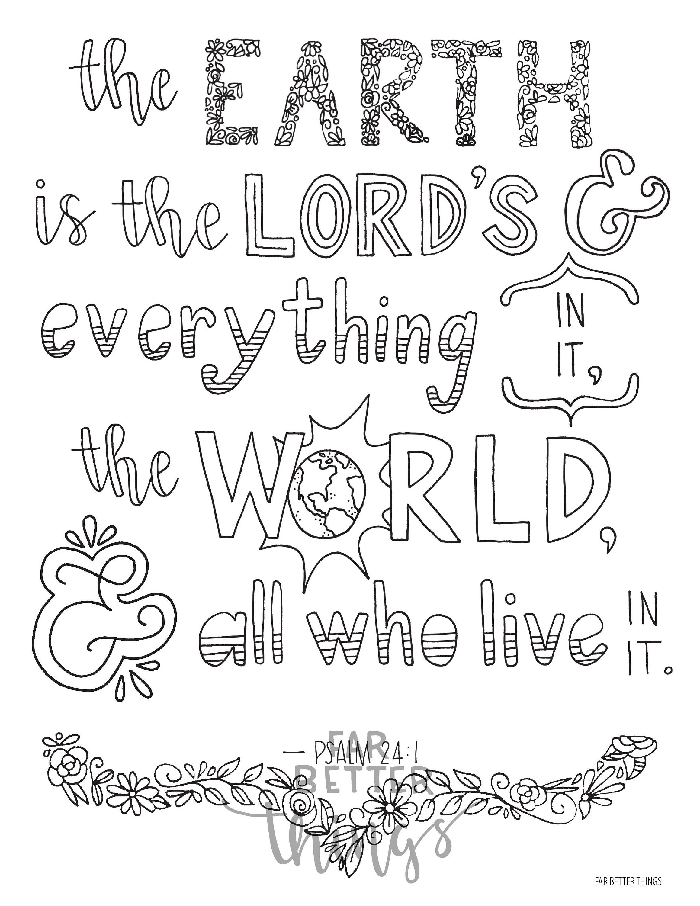 Bible Verse Coloring Page Psalm 24:1 Printable 8.5x11