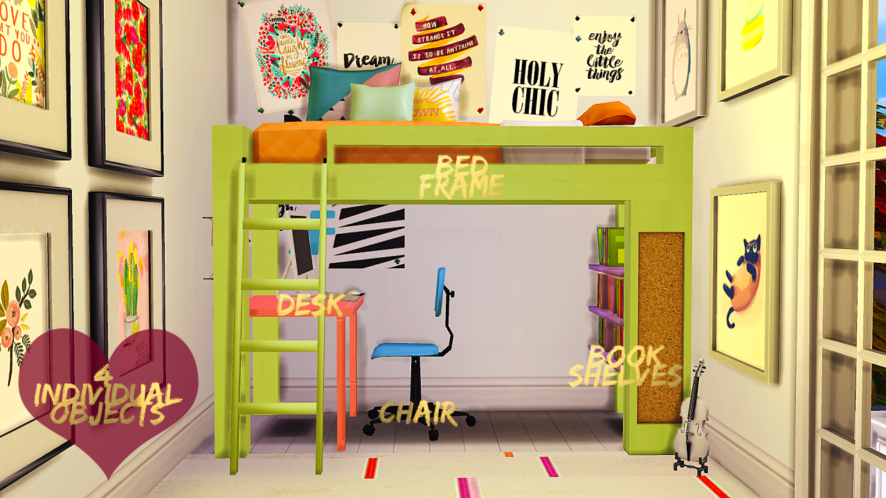 Loft Bed Set I made a little set for you space saving simmers. It includes the bed frame, desk, chair & book shelves. The desk, bed frame & shelves are new meshes by me (with books stolen from EA) &...