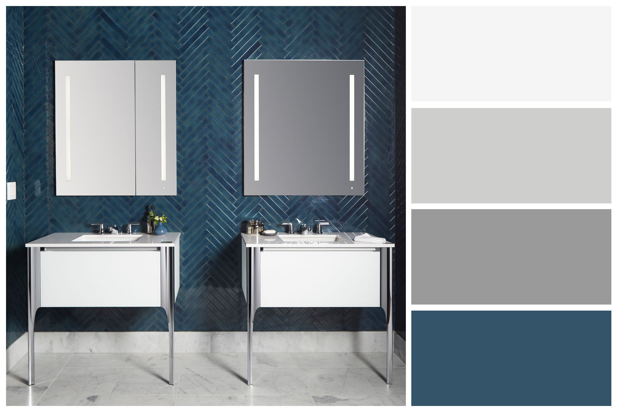Bold Blue And White Bathroom Color Palette Inspired By Robern Aio