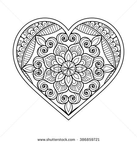Heart with floral Mandala. Vintage decorative elements ...